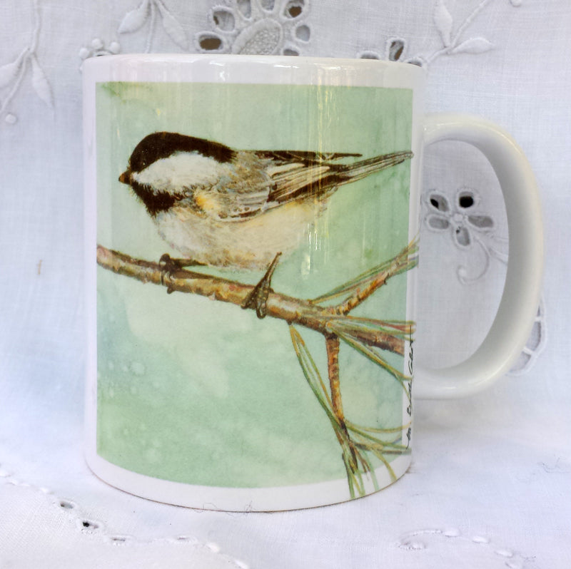 Cup / Mug and Bookmark - Woodland Chickadee - a Favorite for a Morning Delight