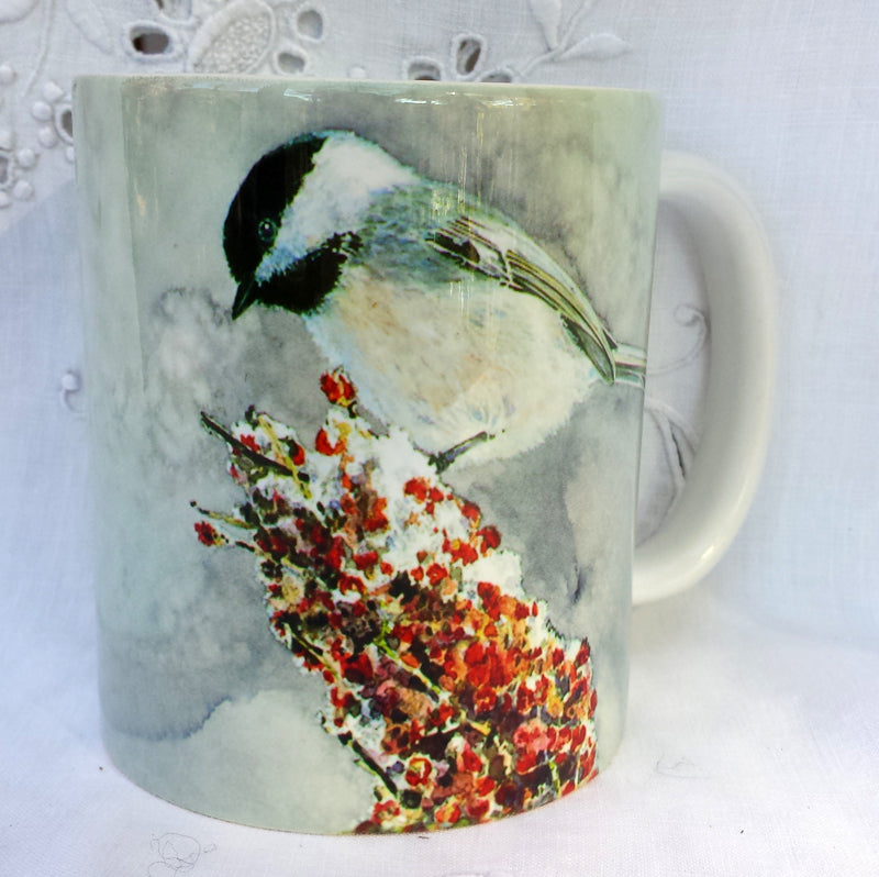 Cup / Mug & Bookmark - Chickadee on Sumac #2 - a Favorite for a Morning Delight