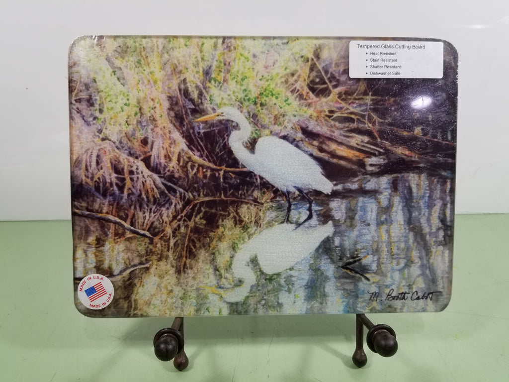 Trivet-Egret in a Mangrove Swamp -Tempered Glass Cutting Board and Hot Trivet