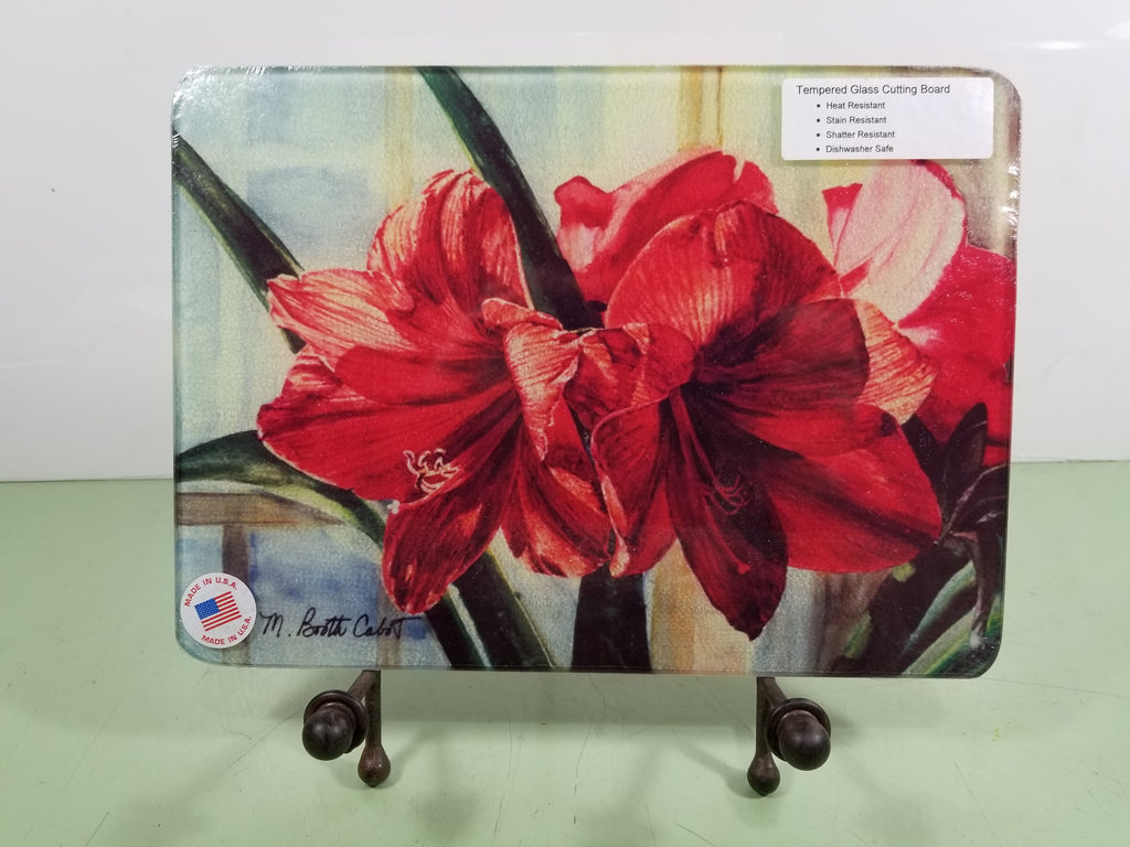 Amaryllis Through the Window Tempered Glass Cutting Board and Hot Trivet