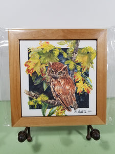 Tile - Hot Trivet & Wood Frame - Southern Screech Owl