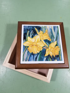 Tile - Wood Box & Inserted Tile Top - Daffodil Trio