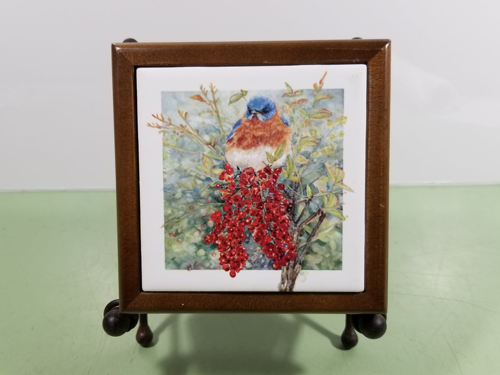 Tile - Hot Trivet & Wood Frame - Bluebirds on Nandina Berries
