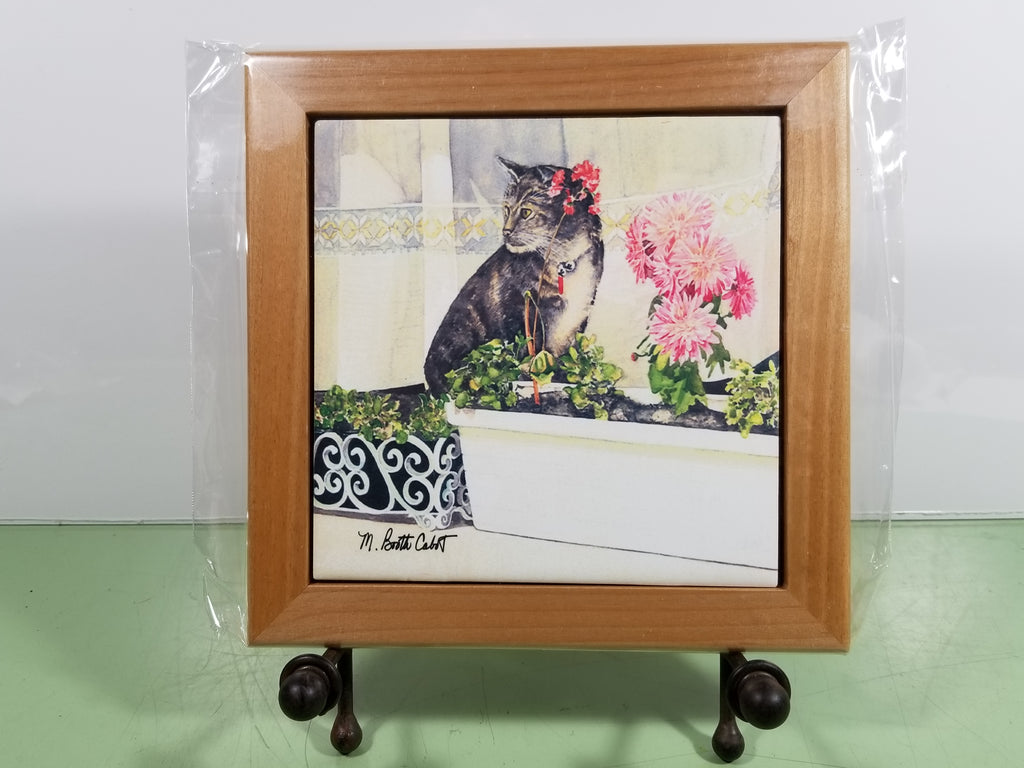 Tile - Hot Trivet & Wood Frame - Hidin' Out (Tabby Cat)