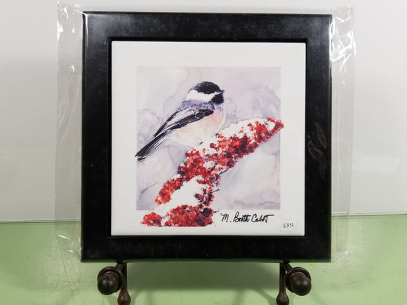 Tile - Hot Trivet & Wood Frame - 'Chickadee on Sumac  II'