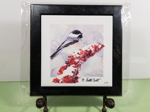 Tile - Hot Trivet & Wood Frame - Chickadee on Sumac  II