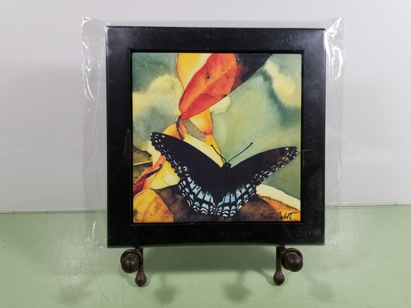Tile - Hot Trivet & Wood Frame - Red Spotted Purple Butterfly