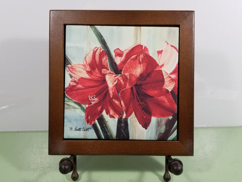 Tile - Hot Trivet & Wood Frame - Red Amaryllis