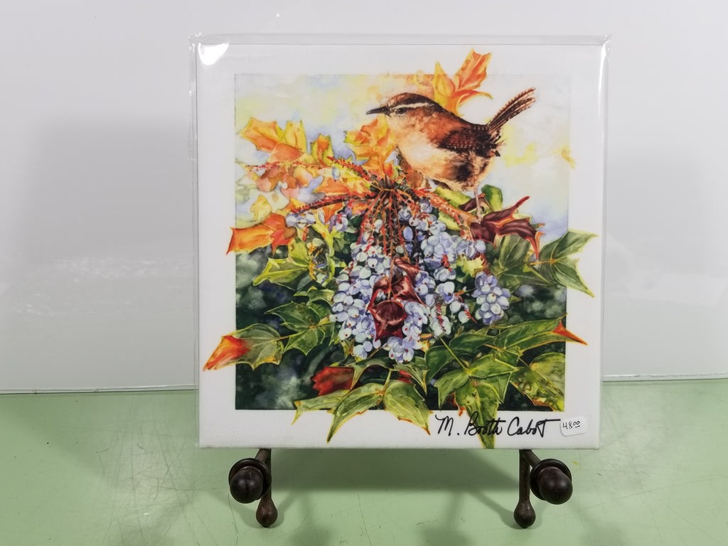 Tile - Hot Trivet - Carolina Wren on Mahonia Berries