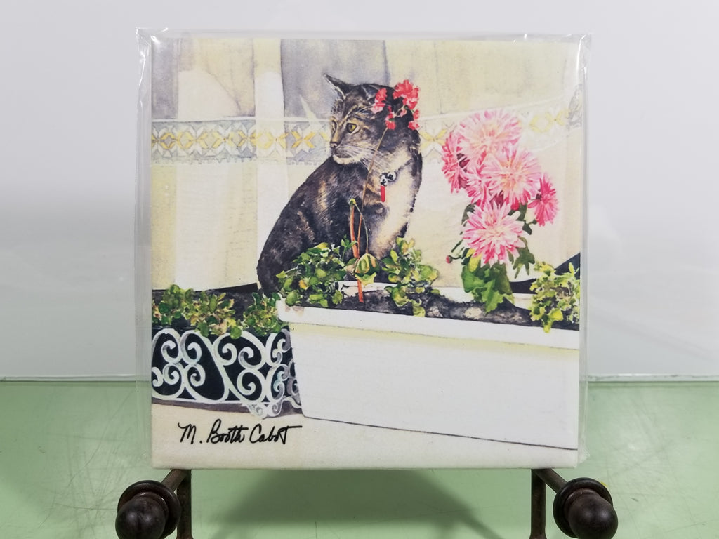 Tile - Hot Trivet - Hidin' Out (Tabby Cat)