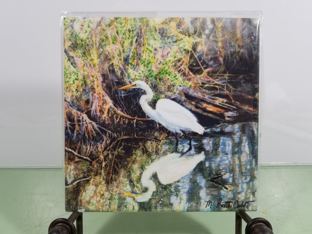 Egret in Mangrove Swamp - Tile - Hot Trivet