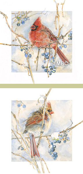 Bird - Cardinals (Pair) Male and Female - Watercolor