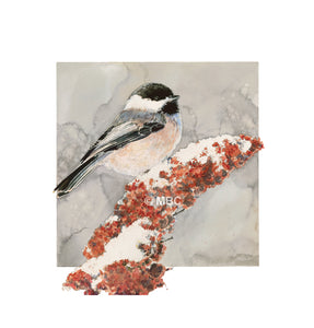 Bird - Chickadee on Sumac I - Watercolor