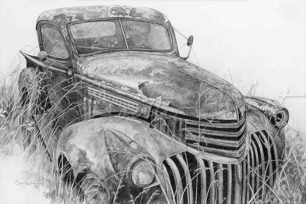 Automobile Earthbound Chevrolet Pickup Truck - Pencil Drawing
