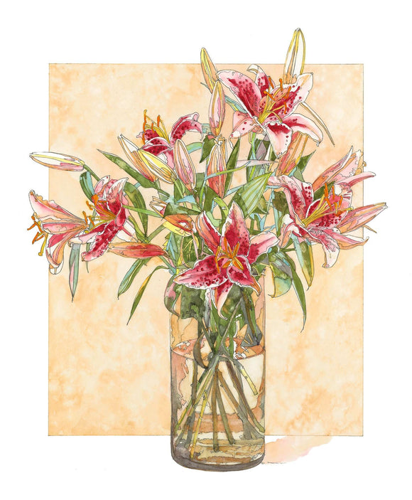 Lily - Glass of Rubrum Lilies - Watercolor & Ink