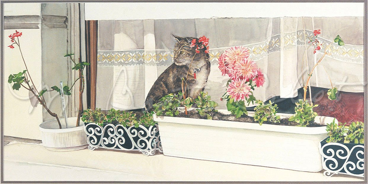 Hidin' Out (Tabby Cat Hiding Behind a Geranium) - Original Stone Lithograph
