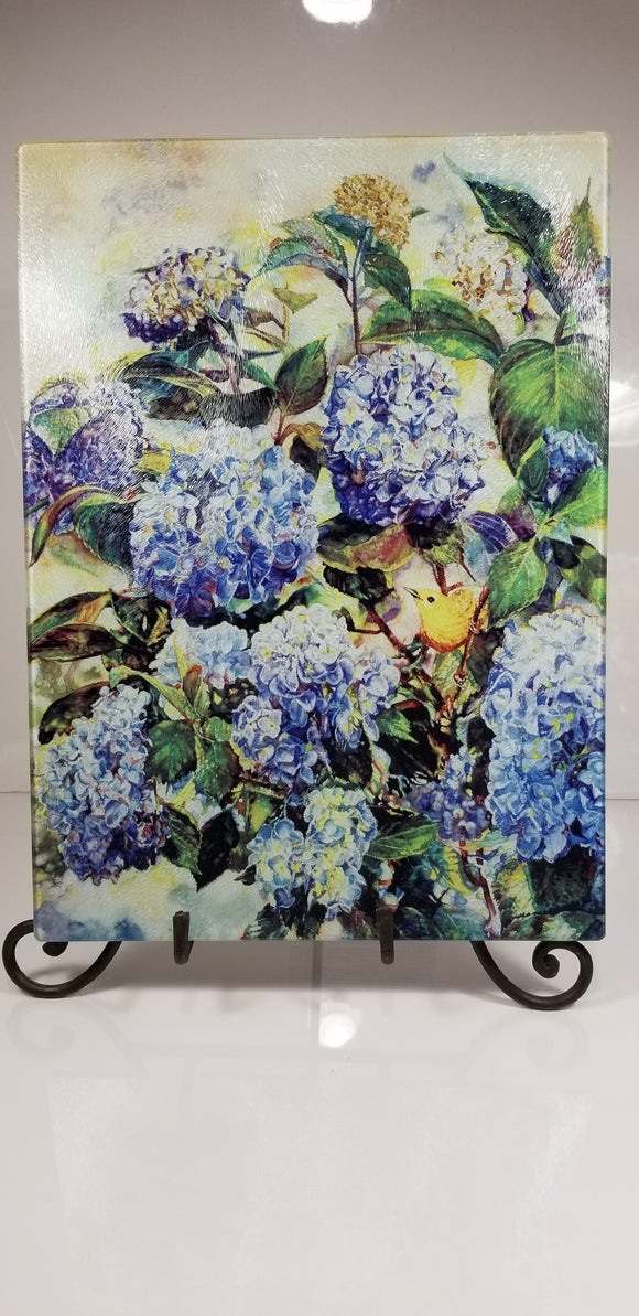 Trivet-Hydrangeas and Warbler-Tempered Glass Cutting Board and Hot Trivet