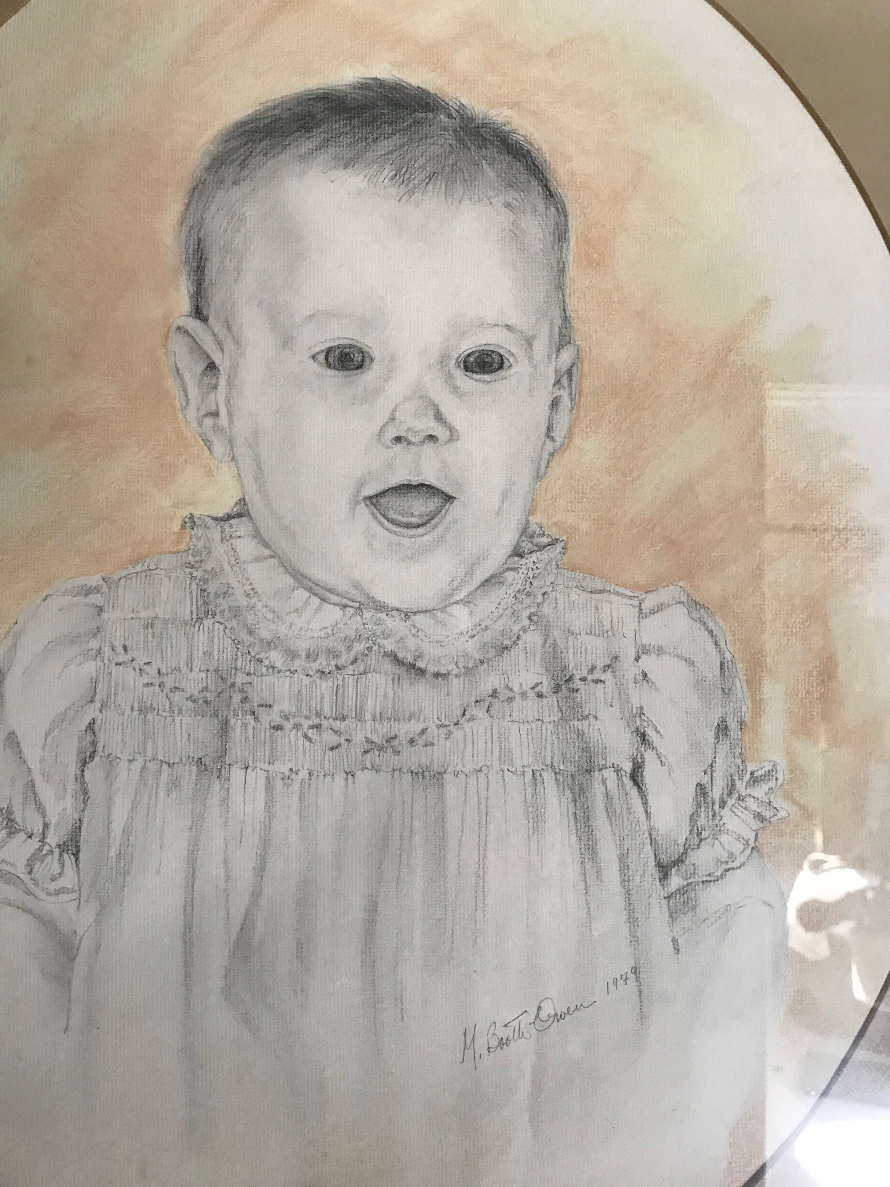 Baby girl portrait carbon pencil drawing with pastel background