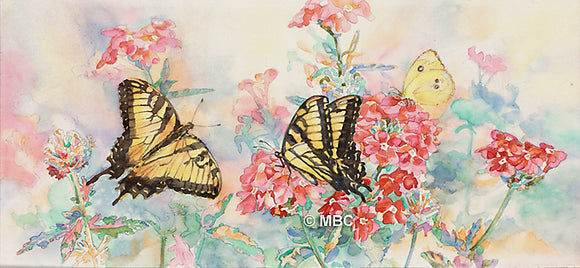 Butterfly - Swallowtail Butterflies on Verbena - Watercolor