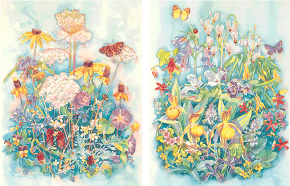 Wildflowers I & II - Watercolor