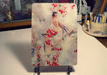 Cedar Waxwings on Pyracantha II Tempered Glass Cutting Board and Hot Trivet