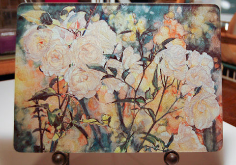 Trivet-'White Roses of Autumn' - Cutting Board & Hot Trivet -Tempered Glass