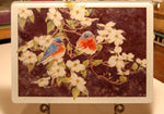Trivet-'Bluebirds on Dogwood' -  Tempered Glass Cutting Board and Hot Trivet