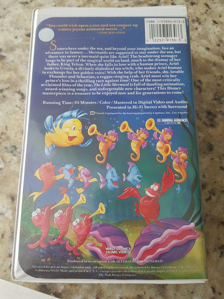 Disney's The Little Mermaid Banned Cover (VHS, 1990) Black Diamond