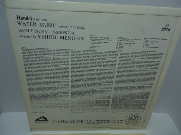 Handel, Bath Festival Orchestra Conducted By Yehudi Menuhin ‎– Water Music (Complete) [Mono] [Import]