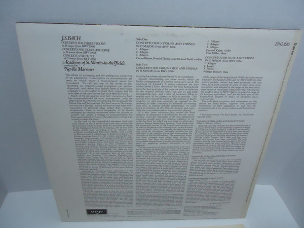 J.S. Bach - Academy Of St. Martin-in-the-Fields, Neville Marriner ‎– Concertos LP