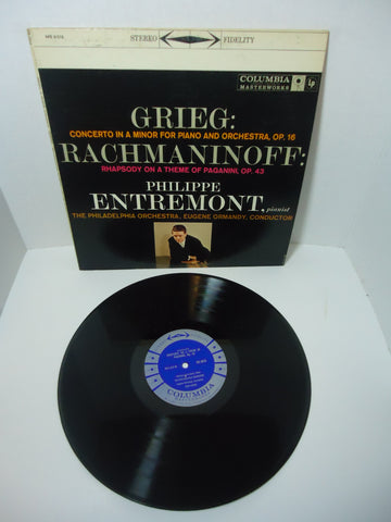 Grieg, Rachmaninoff - Philippe Entremont, The Philadelphia Orchestra, Eugene Ormandy ‎– Grieg: A Minor Concerto / Rachmaninoff: Rhapsody LP
