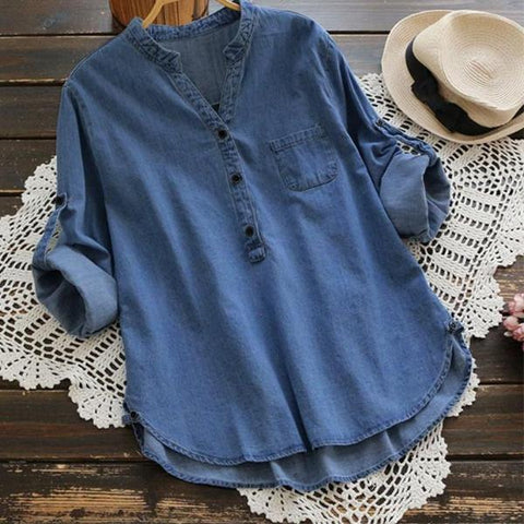 Women's Denim Tunic Tops Small - 5XL- light or dark denim