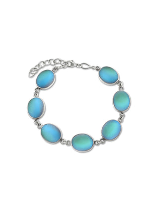 7 Oval Stones Bracelet-Sterling Silver-Leightworks