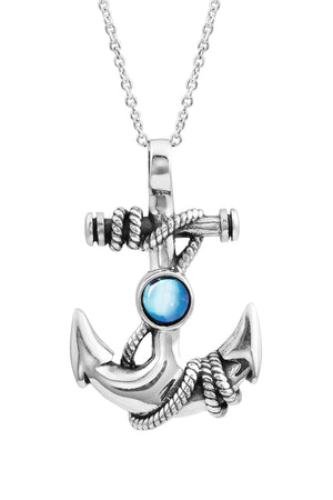 Sterling Silver-Anchor Pendant-Necklace Charm-Blue-Polished-Leightworks