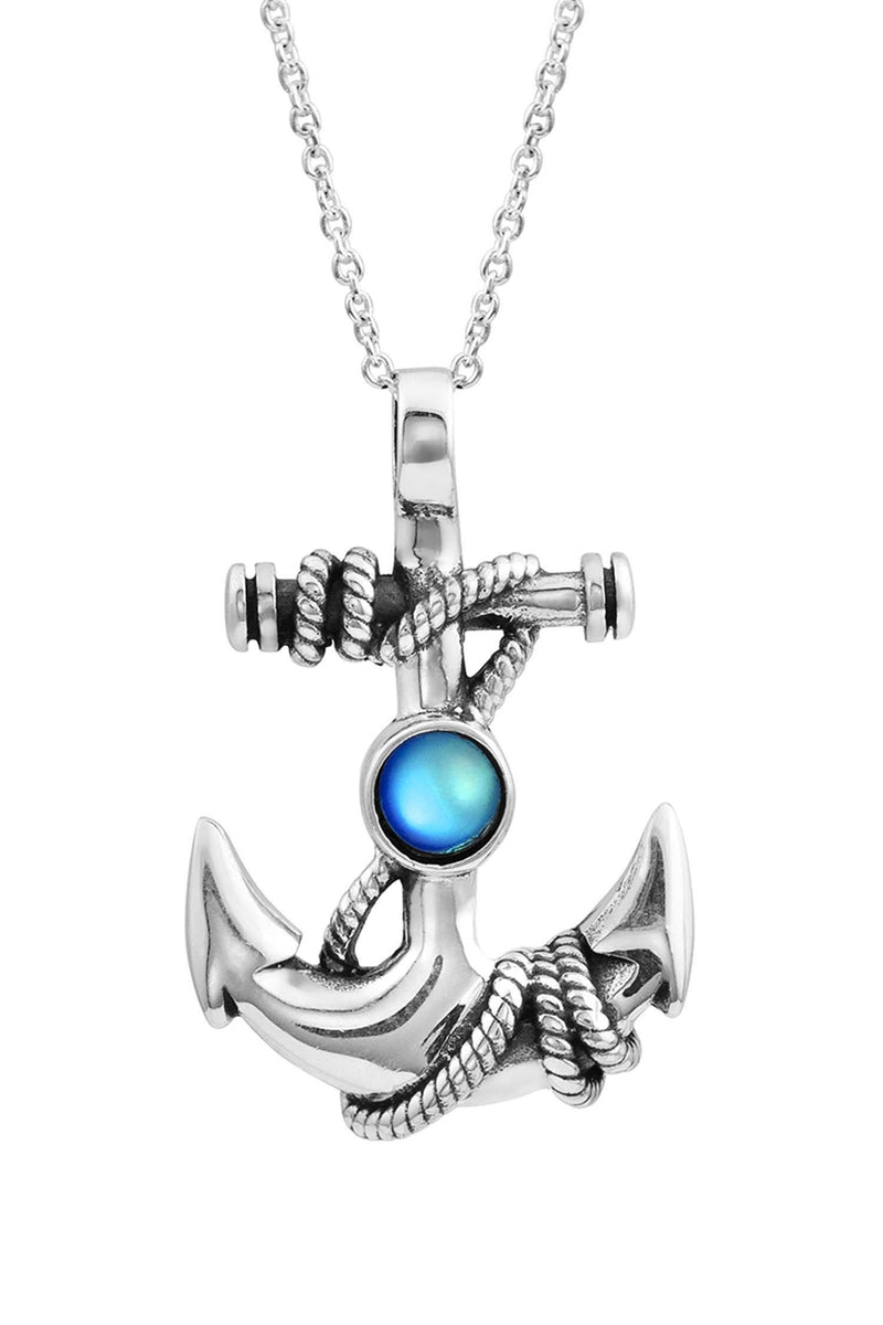 Sterling Silver-Anchor Pendant-Necklace Charm-Blue-Frosted-Leightworks