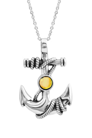 Sterling Silver-Anchor Pendant-Necklace Charm-Fire-Polished-Leightworks