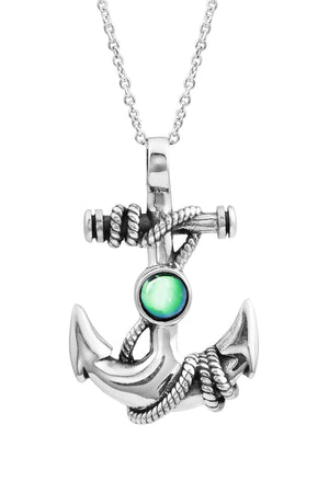 Sterling Silver-Anchor Pendant-Necklace Charm-Green-Polished-Leightworks