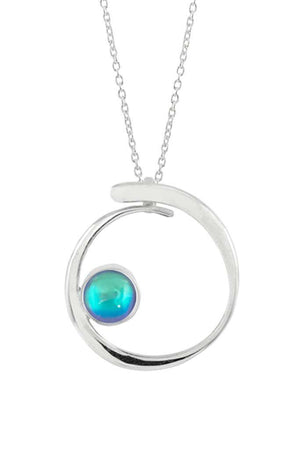 Sterling Silver-Barrel Pendant-Necklace Charm-Aqua-Polished-Leightworks
