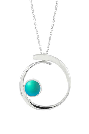 Sterling Silver-Barrel Pendant-Necklace Charm-Aqua-Frosted-Leightworks