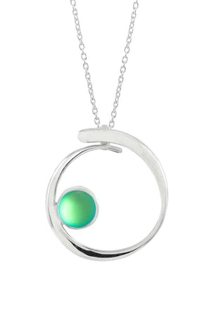 Sterling Silver-Barrel Pendant-Necklace Charm-Green-Frosted-Leightworks