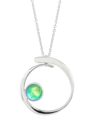 Sterling Silver-Barrel Pendant-Necklace Charm-Green-Polished-Leightworks