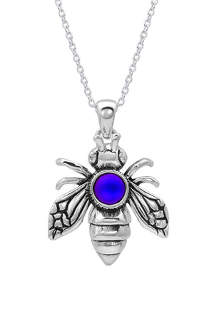 Sterling Silver-Bee Pendant-Necklace Charm-Frosted-Blue-Leightworks