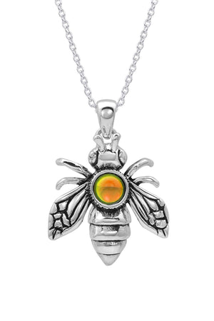Sterling Silver-Bee Pendant-Necklace Charm-Polished-Fire-Leightworks