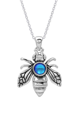 Sterling Silver-Bee Pendant-Necklace Charm-Polished-Blue-Leightworks
