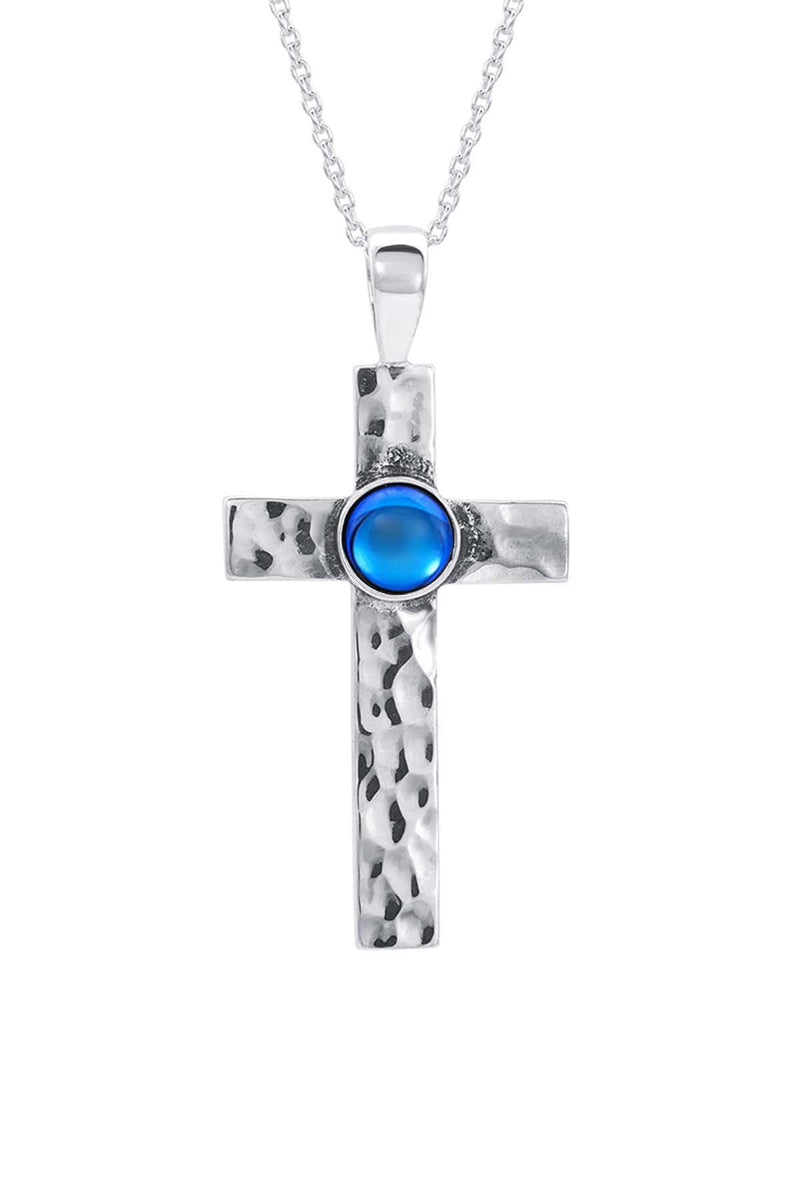 Sterling Silver-Classic Cross Pendant-Necklace Charm-blue-polished-Leightworks