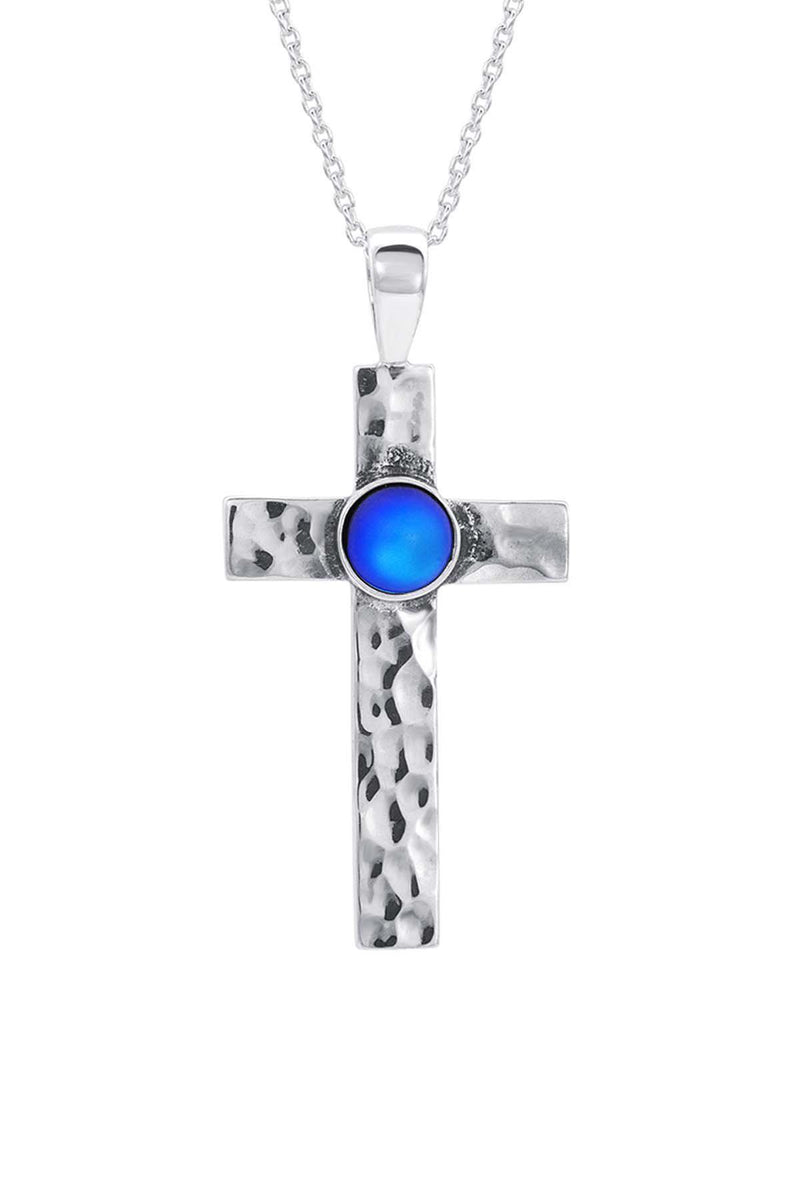 Sterling Silver-Classic Cross Pendant-Necklace Charm-blue-frosted-Leightworks
