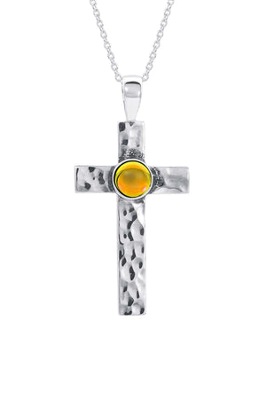Sterling Silver-Classic Cross Pendant-Necklace Charm-fire-polished-Leightworks