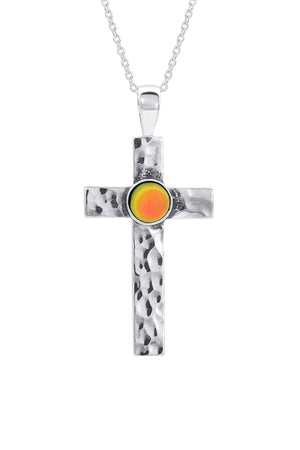 Sterling Silver-Classic Cross Pendant-Necklace Charm-fire-frosted-Leightworks