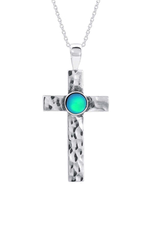 Sterling Silver-Classic Cross Pendant-Necklace Charm-green-frosted-Leightworks