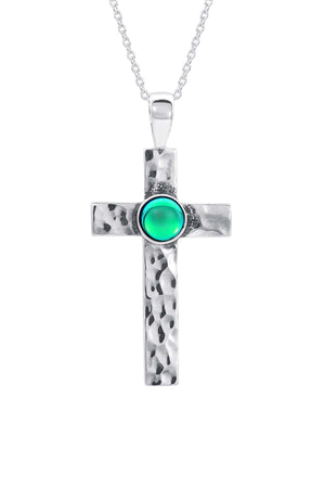 Sterling Silver-Classic Cross Pendant-Necklace Charm-green-polished-Leightworks
